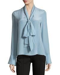 TW40V Alice + Olivia Wesley Long-Sleeve Bow-Neck Silk Blouse | Silk blouse,  Bow blouse, Fashion