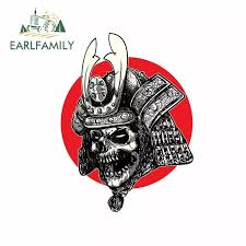 Earlfamily 13cm X 9 8cm For Samurai Skull Gothic Japanese Head Personality Vinyl Car Sticker Funny Scratch Proof Car Decals Car Stickers Aliexpress