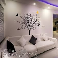 Vinyl Tree Wall Art Bare Winter Tree With Birds Removable Simple Stencil Decals