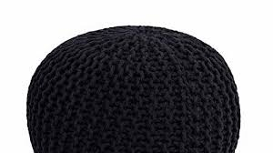 Birdrock Home Round Pouf Foot Stool Ottoman Knit Bean Bag Floor Chair Cotton Braided Cord Great For The Living Room Bedroom And Kids Room Small Furniture Black News Break