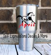 Cup Decal Running Horse Personalized Sticker Tumbler Mug Glass Window Cup Or Water Bottle Running Horses Vinyl Signs Mugs