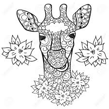 Giraffe In Doodle Style Coloring Page Anti Stress For Adults