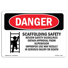 Osha Danger Sign Scaffolding Safety Review Guidelines 7 X 5 Decal Protect Your Business Construction Site Warehouse Shop Area Walmart Com Walmart Com