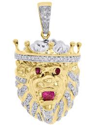 10k yellow gold real diamond 3d lion