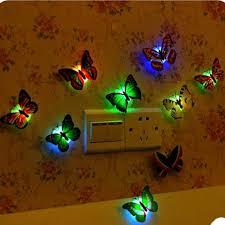 3d Led Luminescenceglowing Night Light Butterfly Sticker Art Design Mural Home Wall Decal Aliexpress
