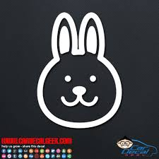 Cute Bunny Rabbit Face Vinyl Car Decal Sticker Graphic