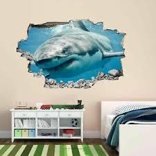 Great White Shark Wall Sticker Mural Decal Kids Bedroom Home Office Decor Bs2 Ebay