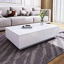 rectangle coffee table white high gloss