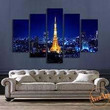 5 Panel Wall Art Tokyo Tower Night Landscape Painting Canvas Prints Ar Ellaseal