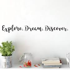Amazon Com Explore Dream Discover Vinyl Wall Decal By Wild Eyes Signs Teen Girl Wall Words Wall Lettering Removable Quote Explore Decal Living Room Decor Hh2262 Handmade
