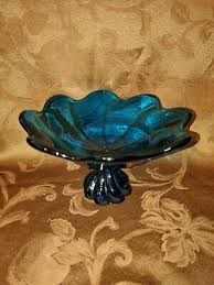 vintage viking epic blue glass bowl