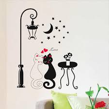 Couple Cat Street Lamp Wall Sticker Romantic Lovers Decor Wallpaper Decoration For Kids Room Floor Stairs Wall Decals Home Decor Wall Stickers Aliexpress