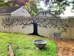 Painted Mural On Wooden Fence Nice Idea Backyard Fences Privacy Fence Landscaping Backyard