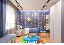 3d Illustration Kids Bedroom Deep Blue Stock Illustration 1199683189