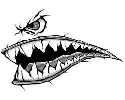 World War Fighter Tiger Shark Teeth Gray Decal Sticker Set 13 In X 20 Wide Ebay