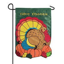 give thanks turkey garden flag double
