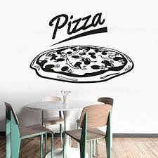 Amazon Com Pabear Wall Decal Sticker Mural Vinyl Arts And Sayings Mural Art Pizza Logo Sticker Restaurant Pizza Shop Window Sticker Pizza Store Kitchen Decor Home Kitchen