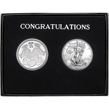 congrats twins gift silver round 2pc