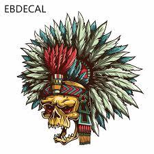 Ebdecal Helmet Aztec Skull Art Funny Car Bumper Window Wall Suitcase Decal Sticker Decals Diy Decor Ct7609 On Aliexpress