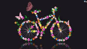 تحميل خلفيات فراشة الدراجة الزهور الرسومات انعكاس عريضة