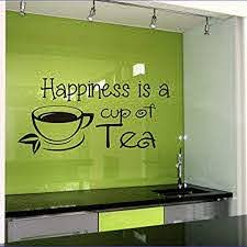 Amazon Com Wall Vinyl Decal Happiness Is A Cup Of Tea Quote Home Wall Decor Sticker Mural Design Kitchen Cafe Ng172 Home Kitchen