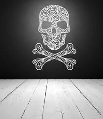Sugar Skull Skull Wall Decal Skull Crossbones Wall Decal Halloween Wall Decor Ebay