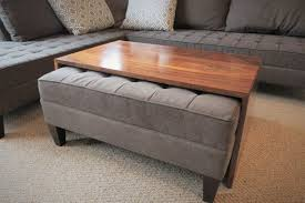waterfall wood coffee table ottoman