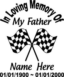 In Loving Memory Father 10 Checkered Flag Racing Decal Window Personalized Car Ushirika Coop