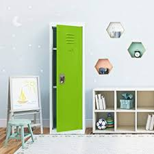 Amazon Com Intergreat Kids Locker For Bedroom Kids Room Metal Kids Storage Lockers With 2 Adjustable Shelves For Toys Coat Sports Gear 48 Inch Green White Office Products