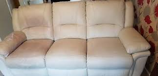scs cream leather recliner sofa couch