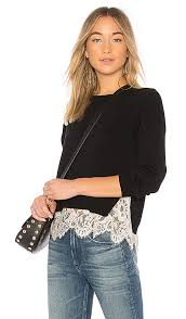 Alice + Olivia Iva Sweater in Black & Soft White | REVOLVE