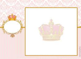 Corona Dorada En Fondo Rosa Invitacion Para Imprimir Gratis E