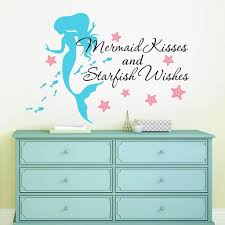 Amazon Com Mermaid Kisses Starfish Wishes Quote Vinyl Wall Decals Free 12 Name Decal 28 W By 20 H Mermaid Kisses Starfish Wishes Quotes Mermaid Decals Mermaids Decals Girls Wall Decals