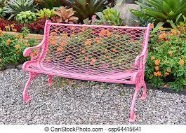 bench in the garden pink vintage
