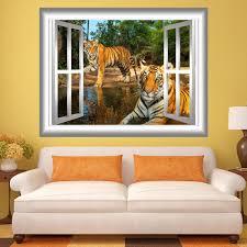 3d Window Wall Decal Tigers Wall Art Window Frame Jungle Scene Safari Vwaq Gj11 Wall Decal