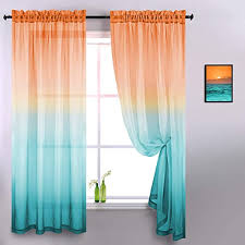 Amazon Com Orange And Green Curtains For Kitchen Decor Set 2 Pack Rod Pocket Short Semi Sheer Bright Beachy Theme Ombre Sunset Curtains For Classroom Windows Door School Shelves Bedroom Kids Room 42