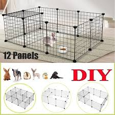 12 Pcs Panels Diy Pet Playpen For Puppy Plastic Indoor Yard Fence Durable Cage Kennel Crate For Small Animals Wish