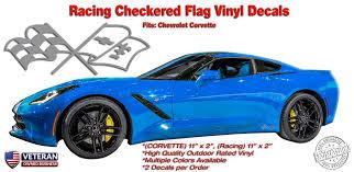 Racing Flag Window Rocker Vinyl Decals Fits Corvette Zr1 Z06 C6 C5 C4 Roe Graphics And Apparel
