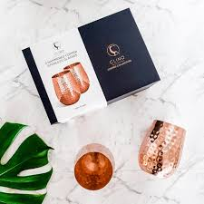 copper wine glasses from clinq hand