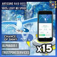 Pokemon GO Articuno Raid Boss x15 (GUARANTEED CAPTURE) [100% LEGIT NO  SPOOF] - Trust Poke Services