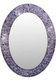 oval shape hanging purple wall mirror