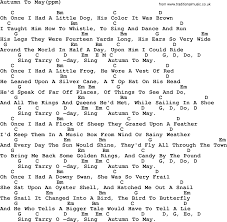 Peter, Paul and Mary song: Autumn To May, lyrics and chords
