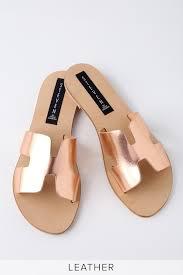 rose gold slide sandals