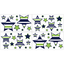Shop Sweet Jojo Designs Navy Blue Lime Green And White Stars Peel And Stick Wall Decal Stickers Art Nursery Decor Set Of 4 Overstock 9791416