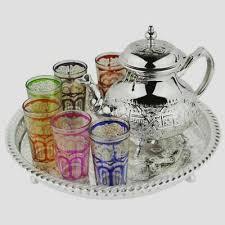 6 cups tea glasses teapot tea tray