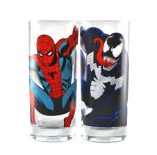 marvel comics spiderman venom glass