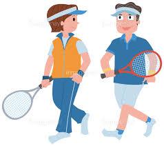 テニスをする中高年夫婦】の画像素材(14404569) | イラスト素材なら ...