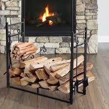 outsunny wood storage rack log holder