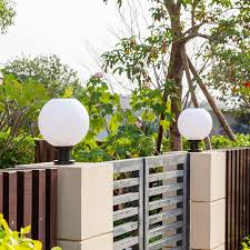 Round Solar Column Light Solar Column Head Lamp Outdoor Door Post Gate Ball Round Garden Vill Shopee Philippines