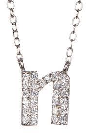 cz pave initial pendant necklace